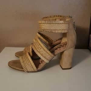 Sam & Libby Suede and Straw Heel NWOT